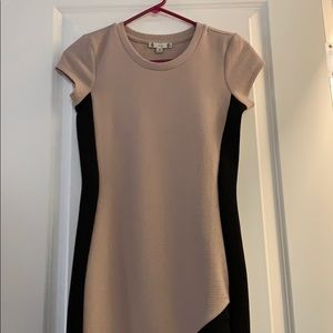Tan and Black Stripe Tight Fitted Dress